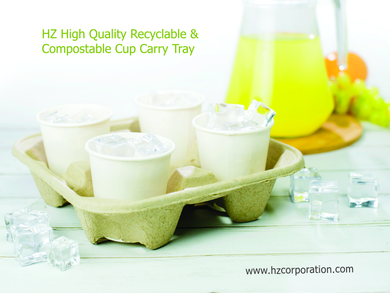 HZ High Quality Recyclable & Compostable Cup Carry Tray for all type of beverages