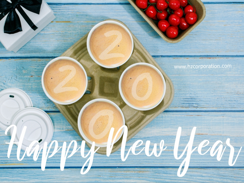 Happy New Year 2020 Cafe Coffee Cup Holder Carry Carrier Tray Paper Pulp Molded HZ Barista Cafe Latte art