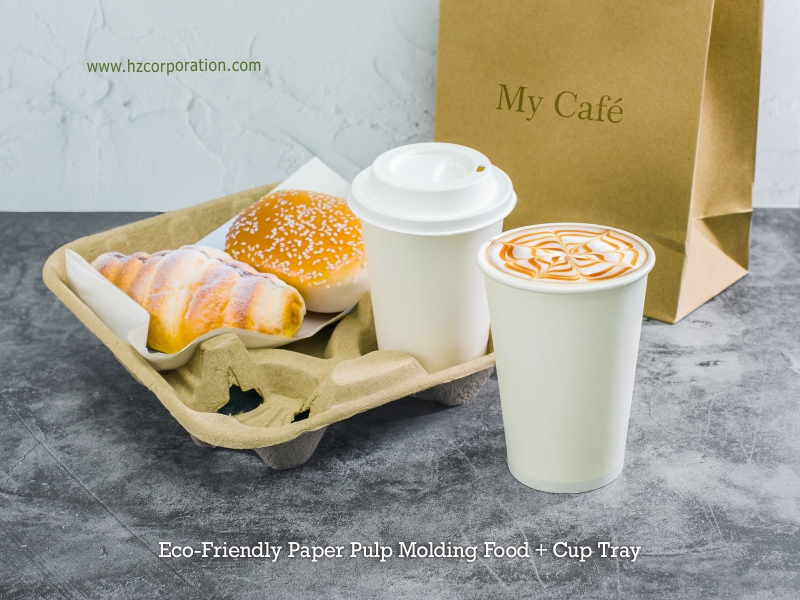 Takeaway Food Tray With Cup Holder